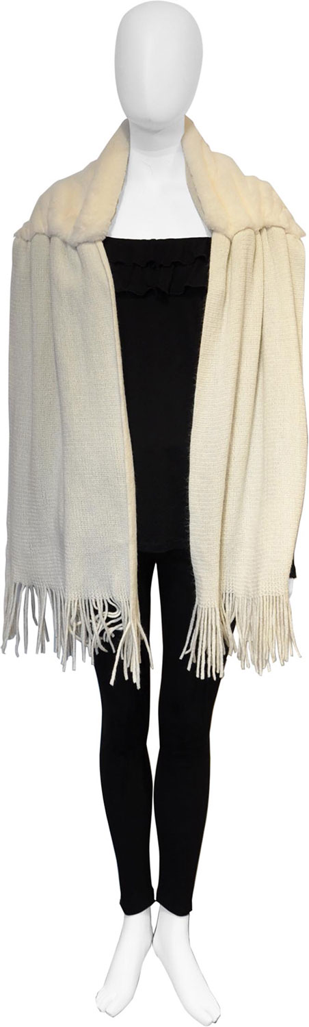 ivory faux fur scarf- front