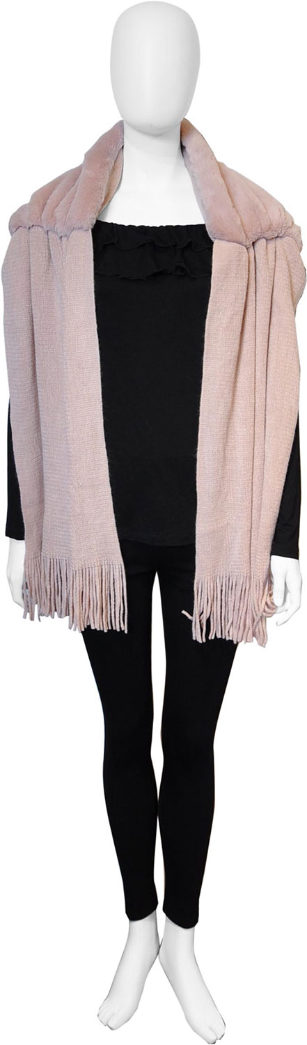 pink faux fur scarf- front