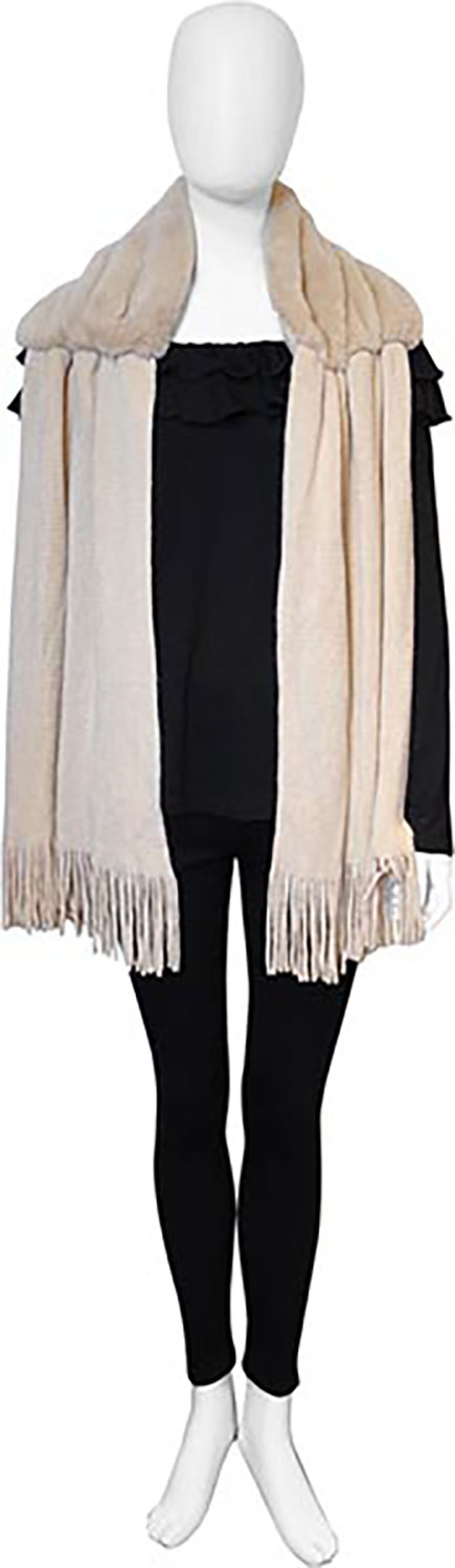 taupe faux fur scarf- front