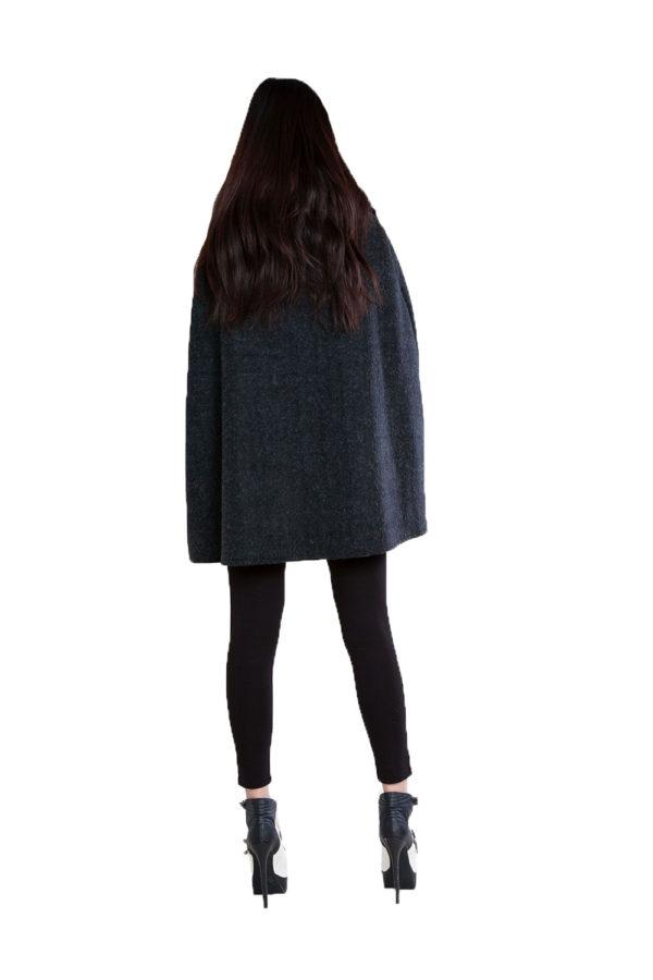 faux fur tweed look black cape- back