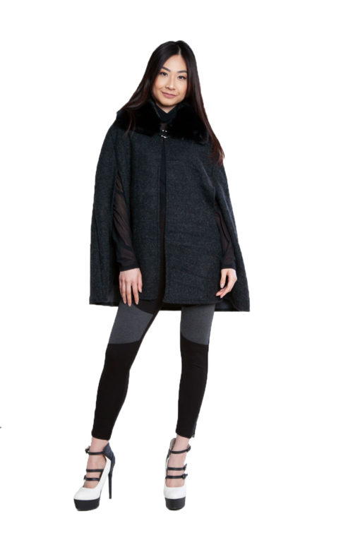 faux fur black tweed look cape- front