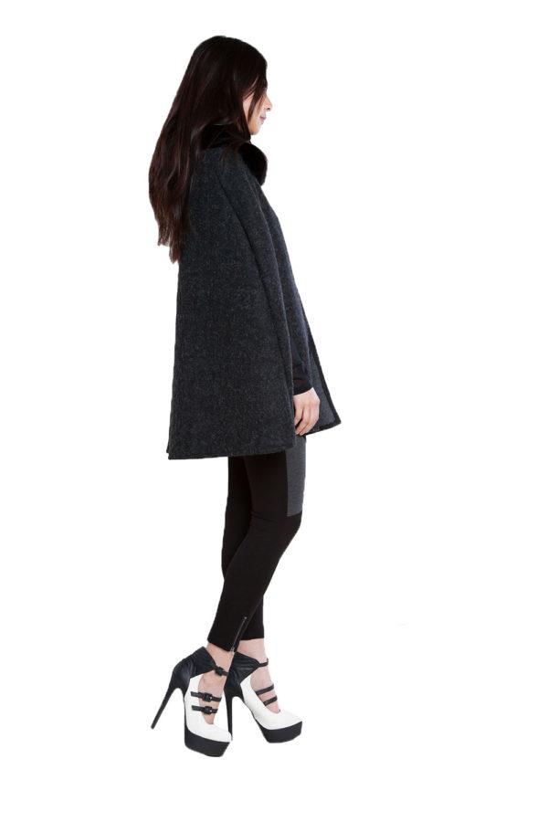 faux fur black tweed look cape- side