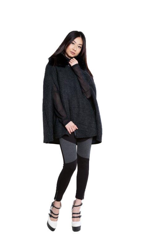 faux fur black tweed look cape- front