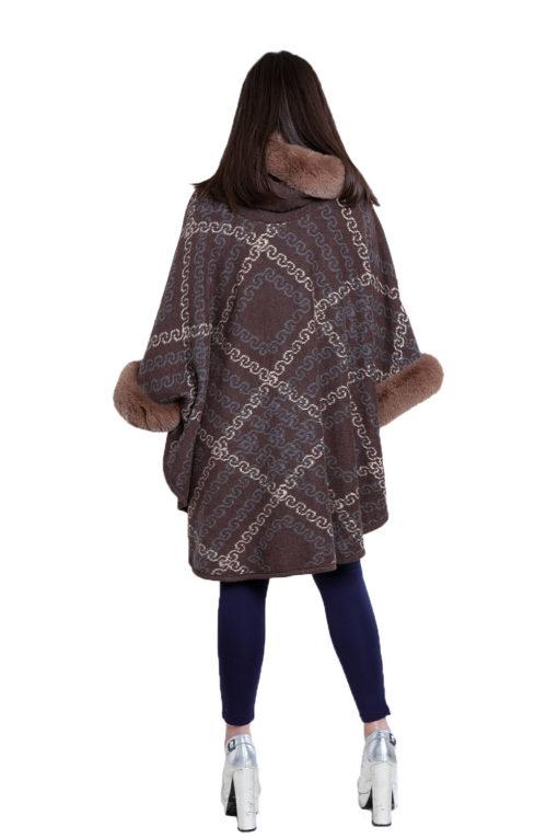 faux fur printed brown cape- back