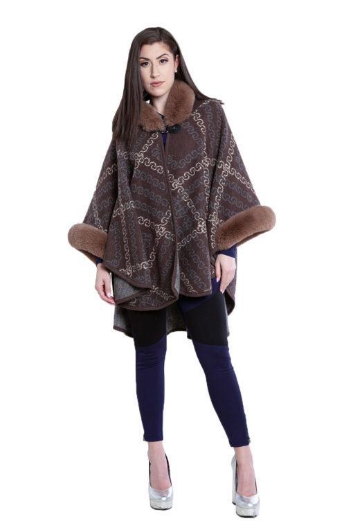 faux fur printed brown cape- front