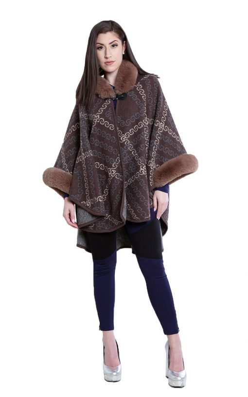 faux fur printed brown cape- front