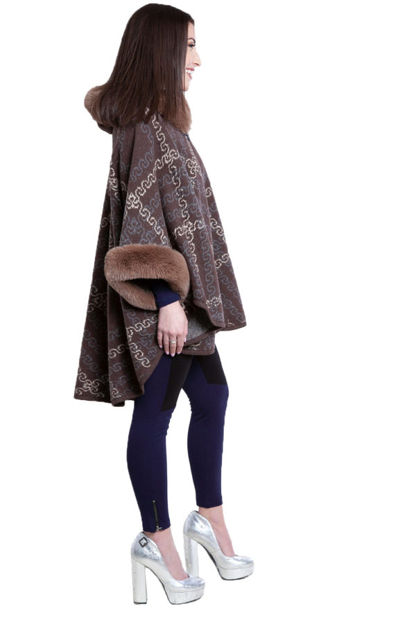 faux fur printed brown cape- side