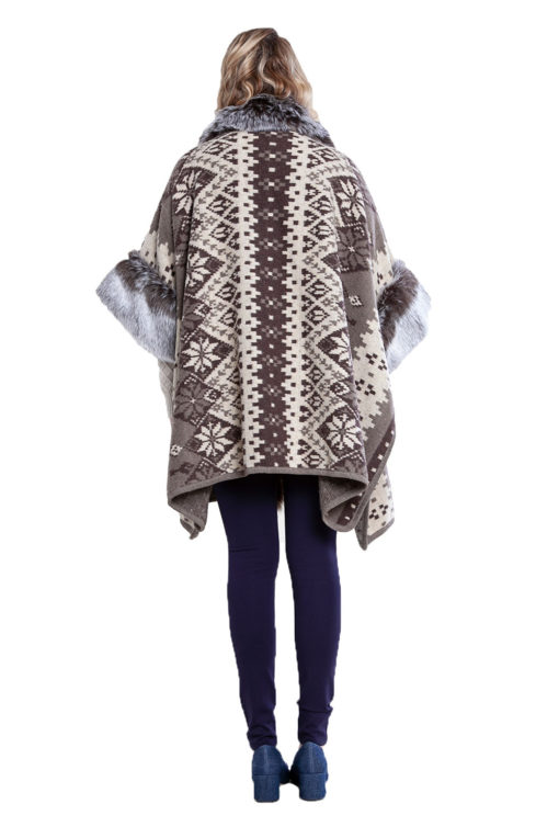 faux fur lined printed poncho- back