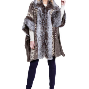 faux fur lined printed poncho- front