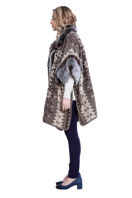 faux fur lined printed poncho- side