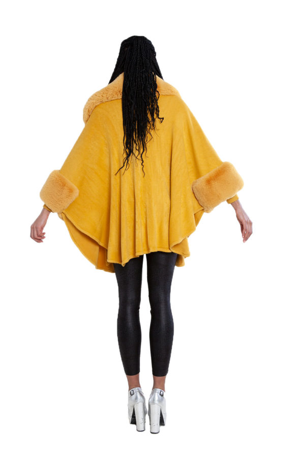faux fur yellow cape- back