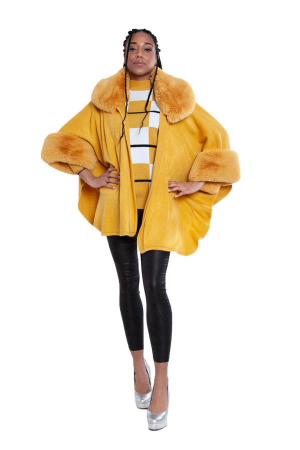faux fur yellow cape- front