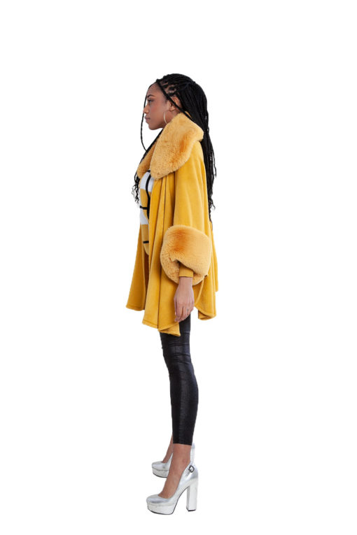 faux fur yellow cape- side