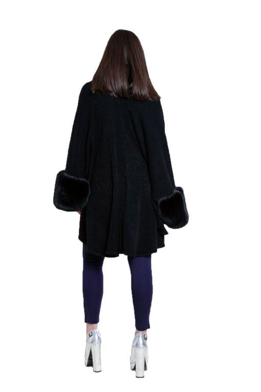 black faux fur cape- back