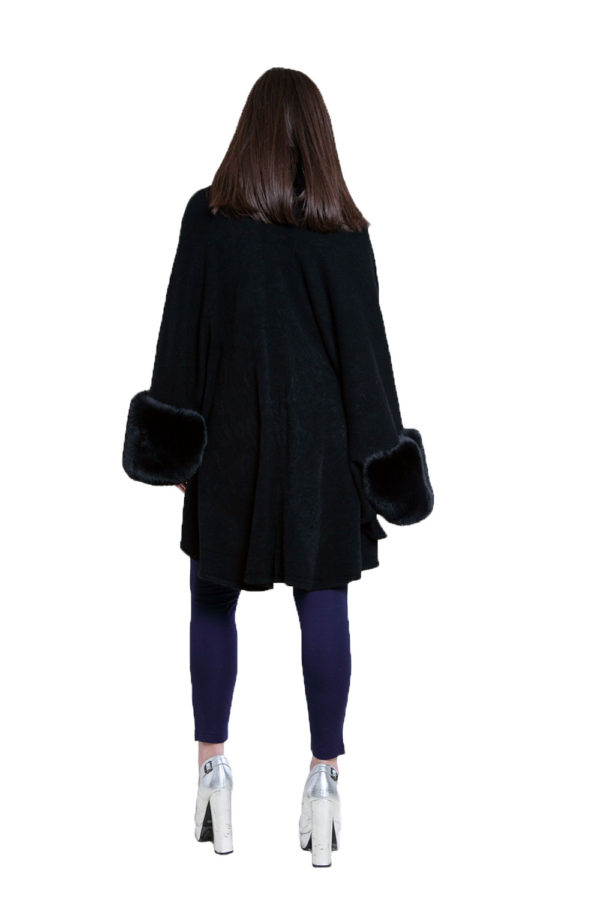 black faux fur cape- back