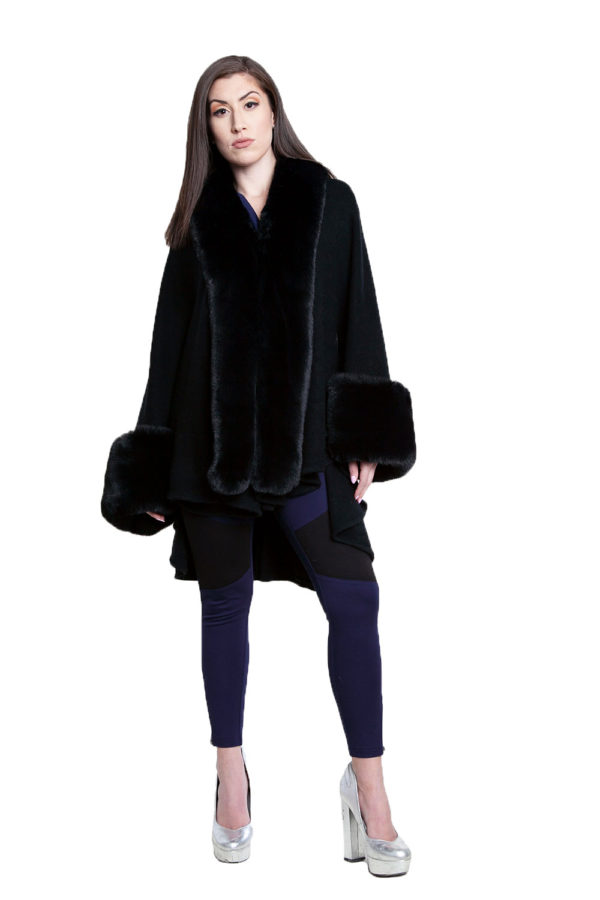 black faux fur cape- front