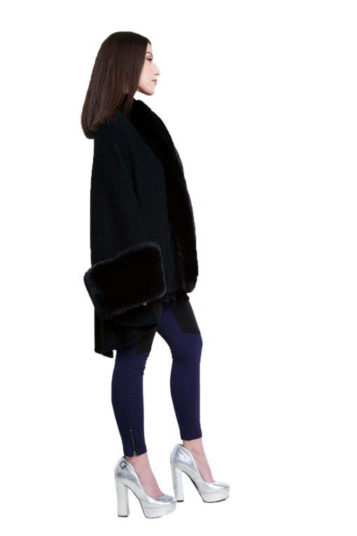 black faux fur cape- side