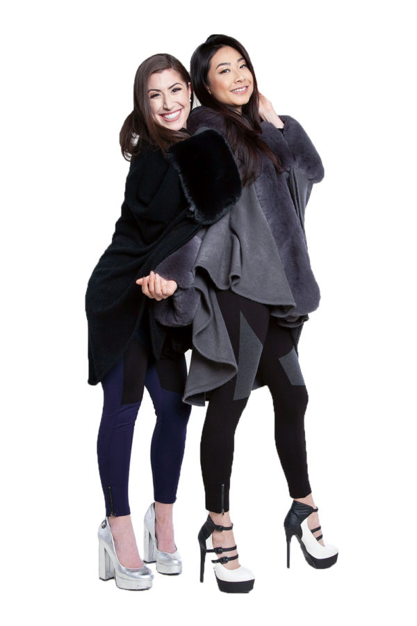 black and grey faux fur capes- front
