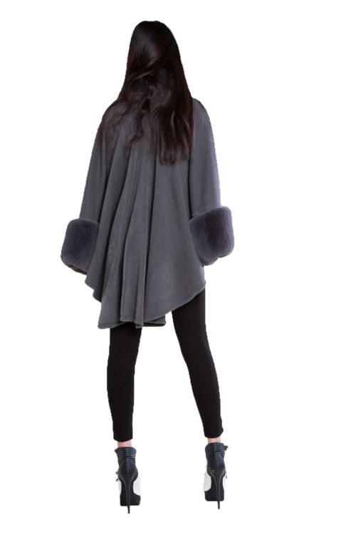 grey faux fur cape- back