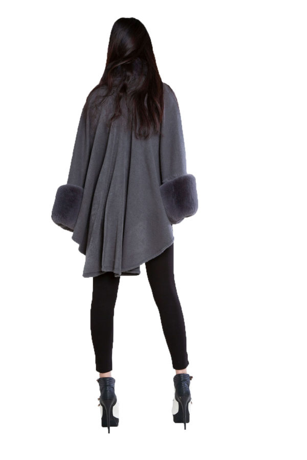 grey faux fur cape- back