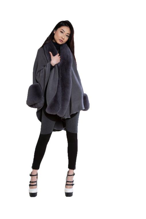 grey faux fur cape- front