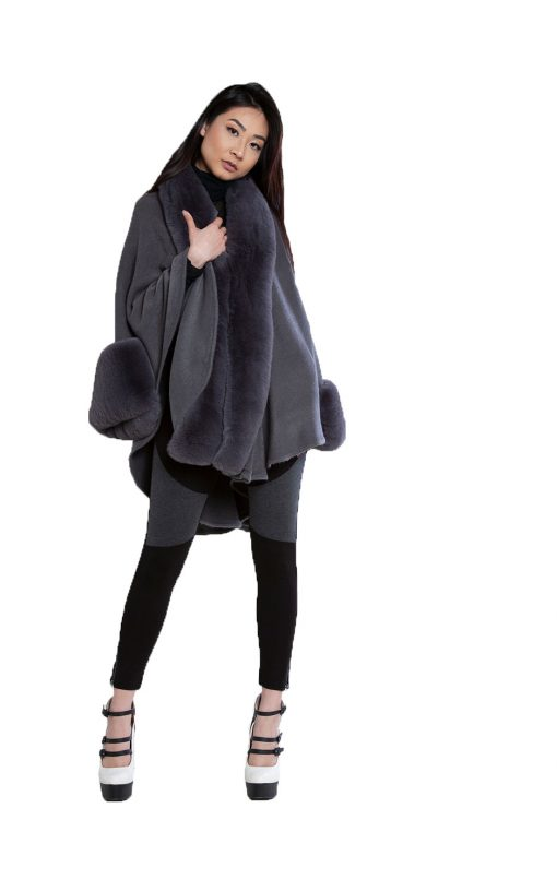 grey faux fur cape- front