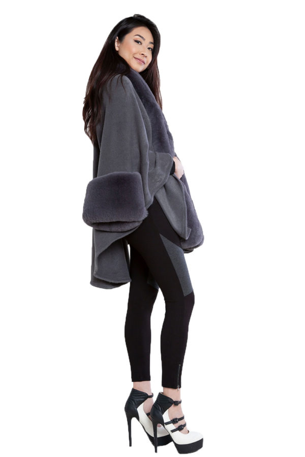 grey faux fur cape- side