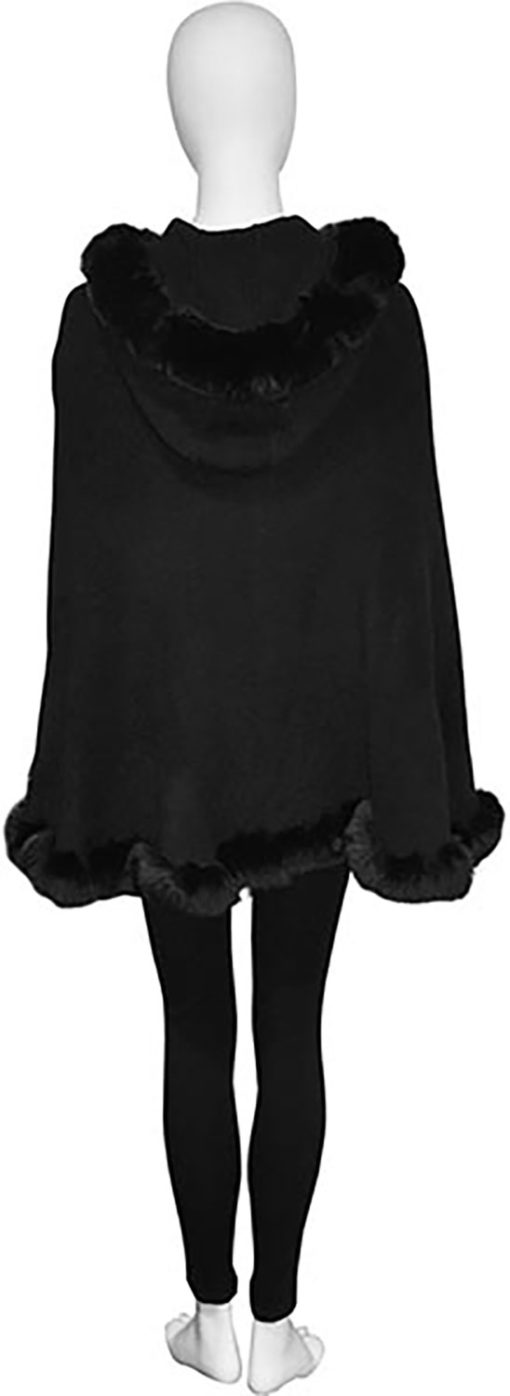 faux fur lined black poncho- back