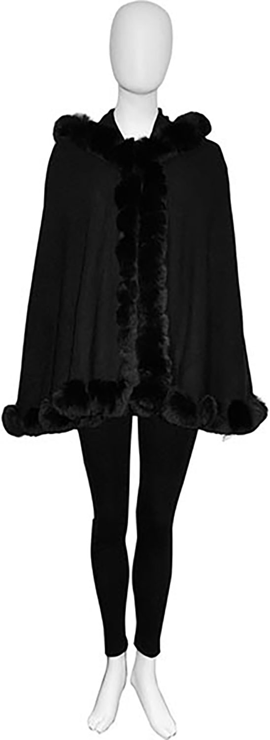 faux fur lined black poncho- front