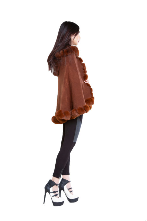 faux fur lined brown poncho- side