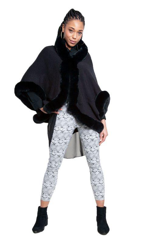 faux fur lined black poncho- front