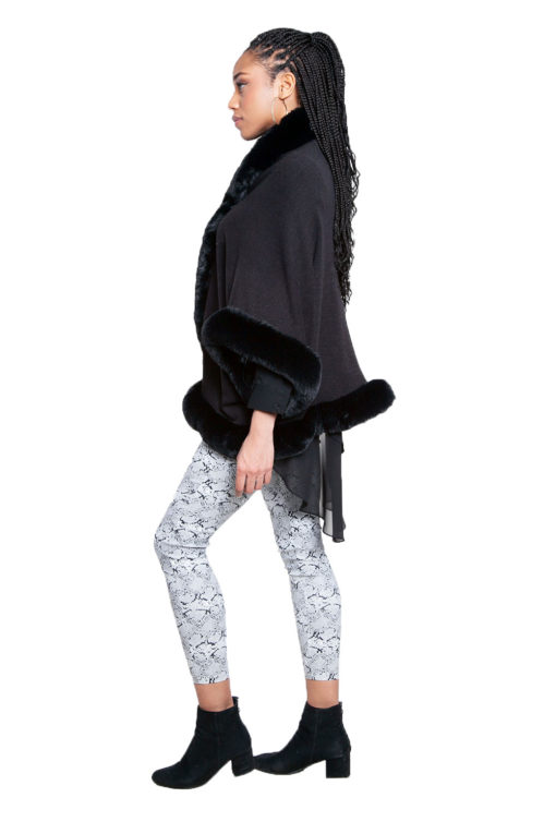 faux fur lined black poncho- side