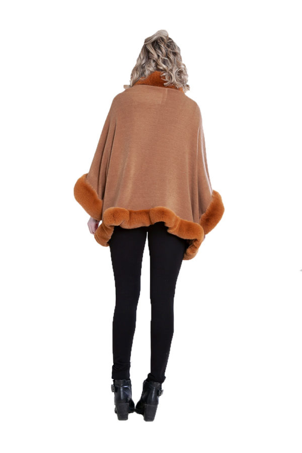 faux fur lined brown poncho- back