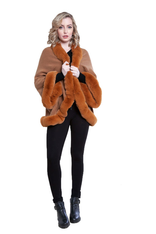 faux fur lined brown poncho- front