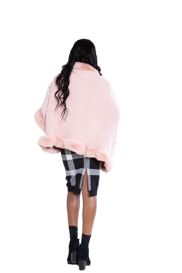 faux fur lined pink poncho- back