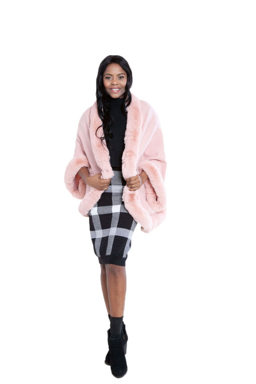 faux fur lined pink poncho- front