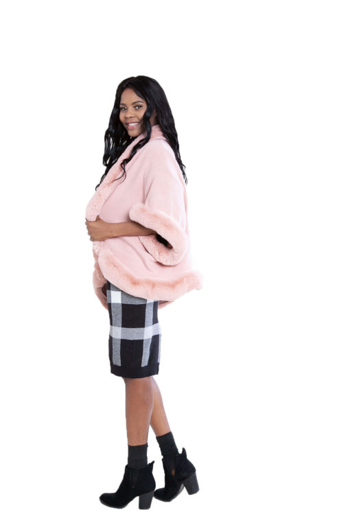 faux fur lined pink poncho- side
