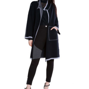contrast stitch open black knit cardigan- front