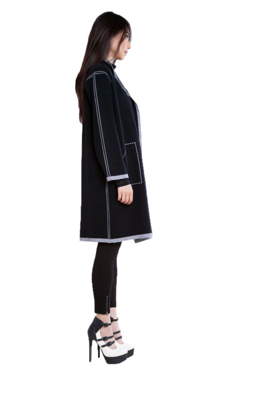 contrast stitch open black knit cardigan- side