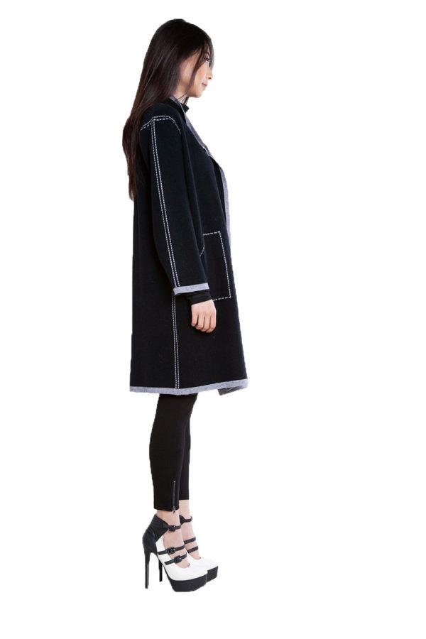 contrast stitch open black knit cardigan- side