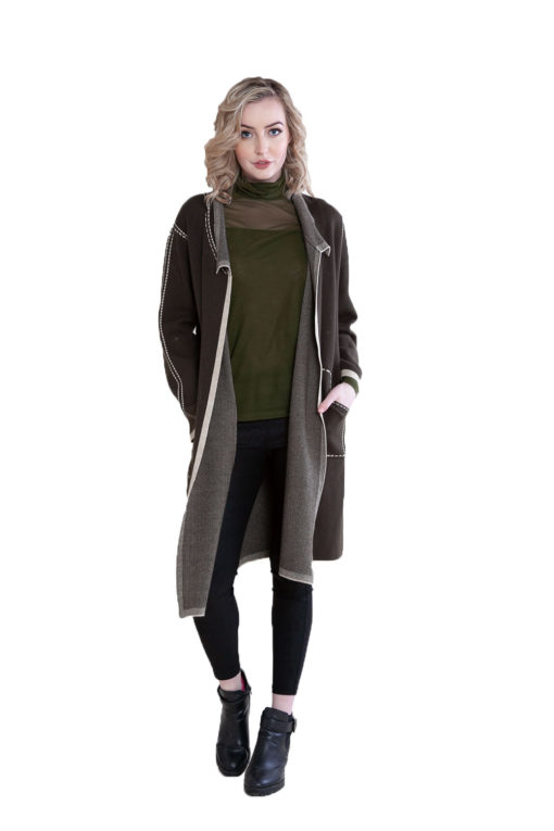 contrast stitch open olive knit cardigan- front