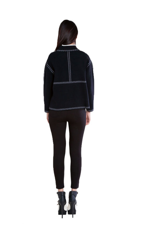 contrast stitch black knit sweater- back