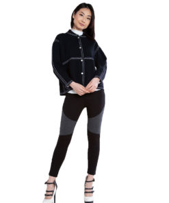 contrast stitch black knit sweater- front