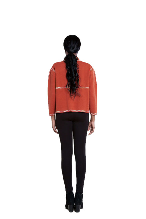 contrast stitch rust knit sweater- back
