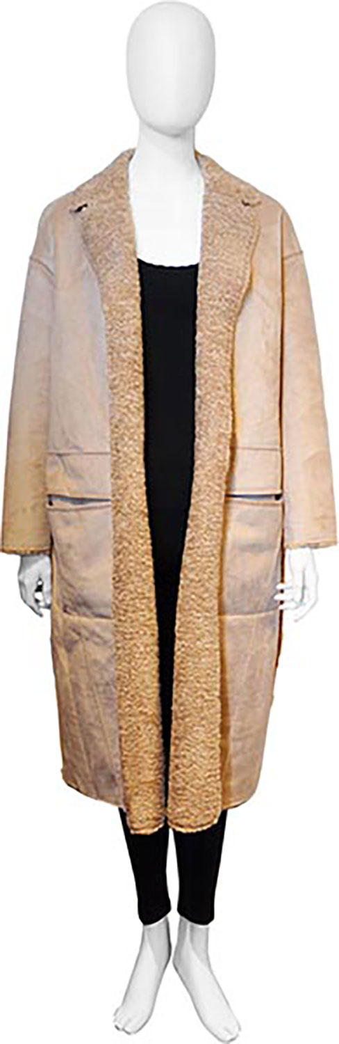 reversible beige open coat- front