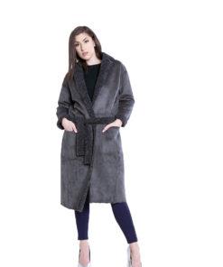 reversible grey open coat- front