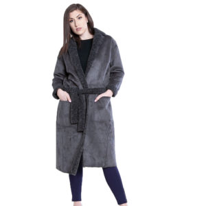 reversible grey open coat- front