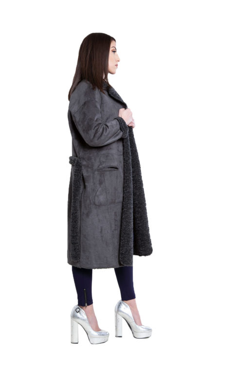 reversible grey open coat- side