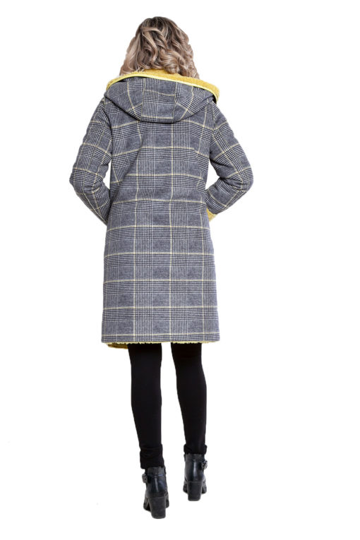reversible yellow plaid coat- back