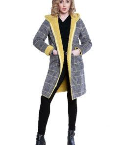 reversible yellow plaid coat- front
